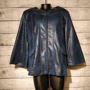 Teal and Black Iridescent Zip Jacket